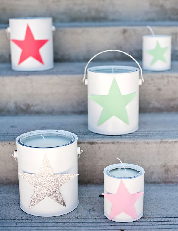 Paint can outdoor deck candles