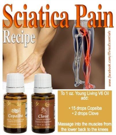 Sciatica Pain Recipe: To 1 ounce of Young Living V6 Vegetable Oil add: 15 drops Copaiba (anti-inflammatory pain reliever) 2 drops clove (anti-inflammatory anaesthetic. For more information www.facebook.com/elvielook www.youngliving.org/elvielook #youngliving #essentialoils #sciatica by winnie