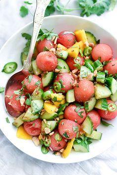 Cucumber Basil and Watermelon Salad | http://foodiecrush.com