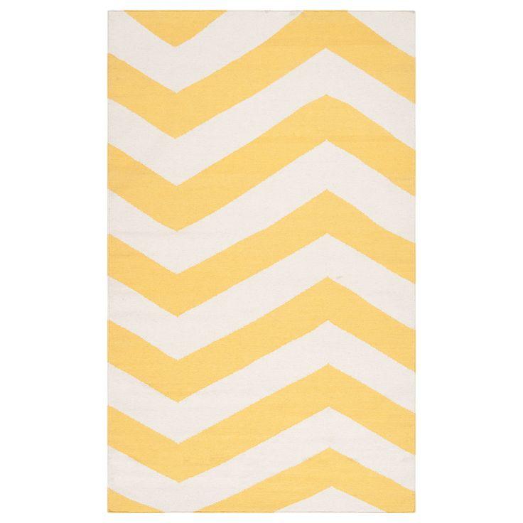 Mustard Yellow Chevron Rug!   Surya Frontier Brave Zigzag Sunshine Yellow/White Hand Woven Rug @Zinc_Door