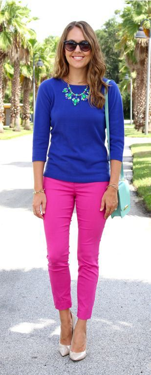 J's Everyday Fashion.  Cute Outfit!  Luv the Blue with hot pink pants!!