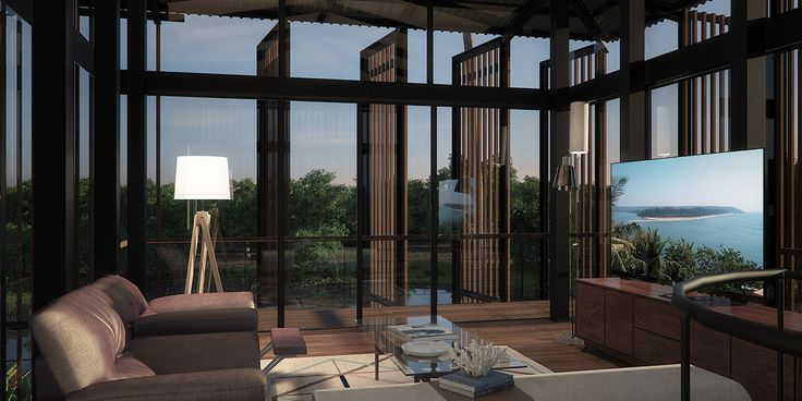 The Family Room overlooks the surrounding landscape from the first floor level with moveable slatted screens filtering the light  Waikiki Wetland Resort, Vengurla - Architecture BRIO, India  #TimberScreens #rendering #SustainableArchitecture
