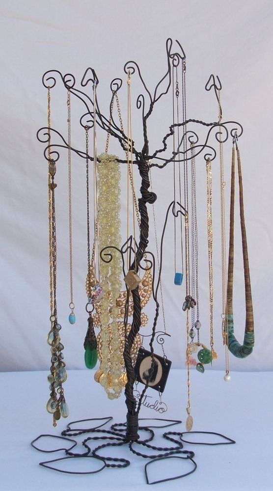 Wire Necklace Stand jewelry Tree Holder Metal by ClaudinesLimited, $36.00