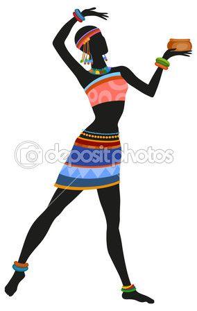 Mujer africana bailando danza ritual — Vector de stock #78620806                                                                                                                                                                                 Más