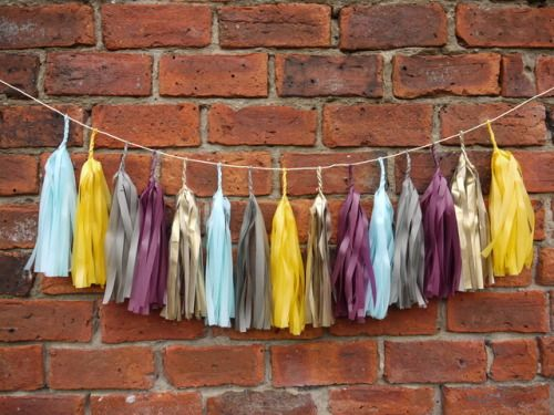 RAGNAR large tassel garland Handmade from yellow, grey, blue, burgundy and gold tissue   Luxury handmade party decorations Check out our store - paperstreetdolls.etsy.com