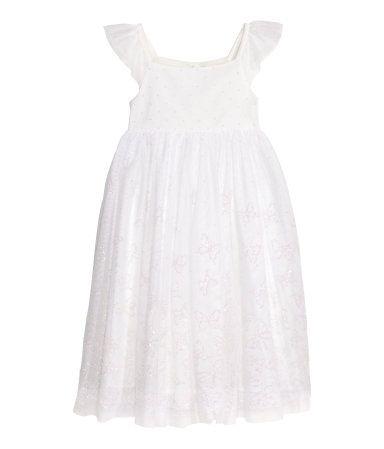 Glitterende tulen jurk | Wit/glitters | Kinderen | H&M NL
