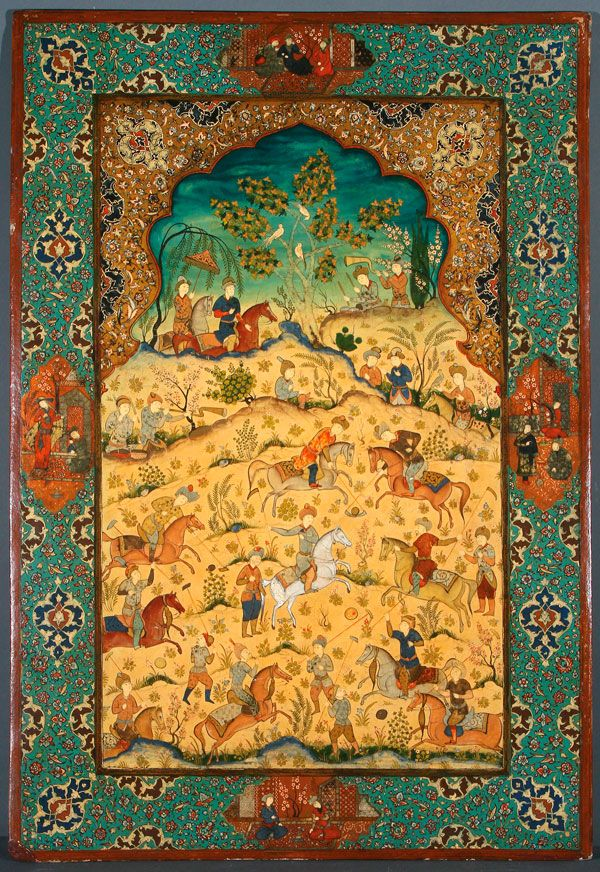 A LARGE QAJAR LACQUERED PAPIER-MACHE CHOUGAN SCENE PANEL, 19TH CENTURY, IRAN. Finely decorated in the Safavid style, of a Persian polo match. 35 inches x 24 inches (89 x 61 cm).