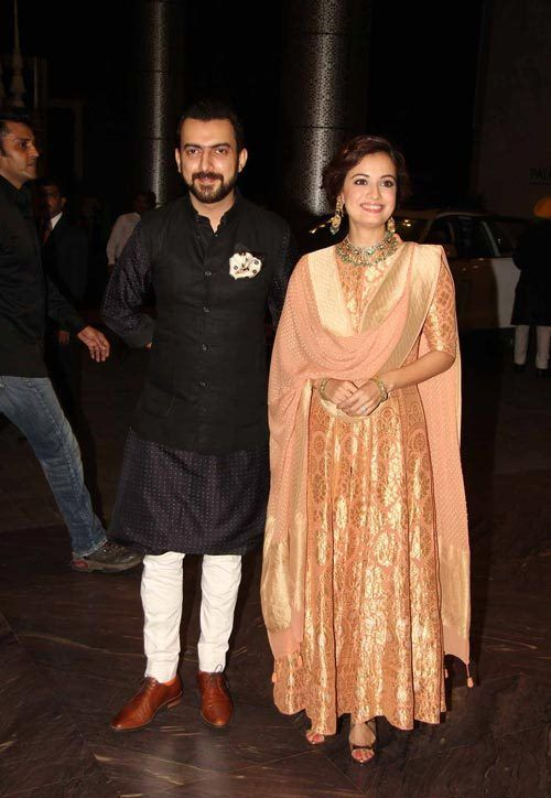 Dia Mirza in Peach Anarkali Suit by Anita Dongre
