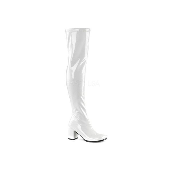 Women's Funtasma Gogo 3000 Thigh High Boot ($56) ❤ liked on Polyvore featuring shoes, boots, casual, thigh high boots, white, white over the knee boots, over knee boots, stretch thigh high boots, patent leather boots and white patent leather boots