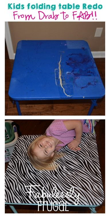 Learn how to redo your kid's folding table with this quick and easy tutorial.  http://fabulesslyfrugal.com/diy-kids-folding-table-redo