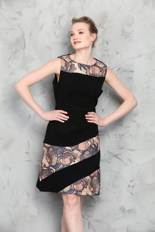 İkili Şerit Siyah Kaşe Detaylı Keten Elbise - Fotoğraf