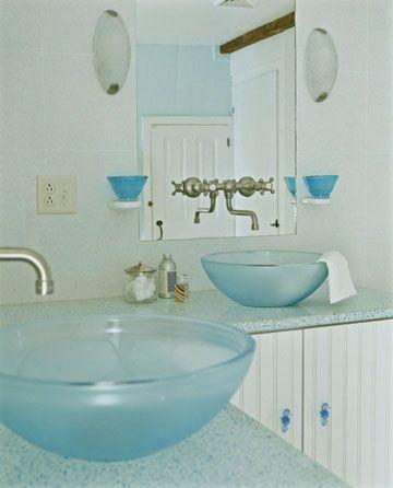 Cottage-Style Bathroom love the sea glass sinks!
