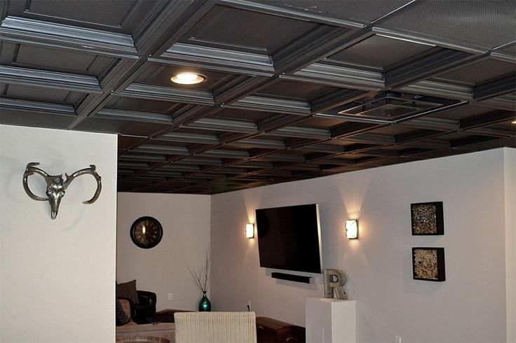 Easy basement install of black Madison coffered ceiling tiles.