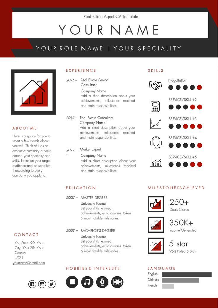 Real estate agent broker cv template real estate agent
