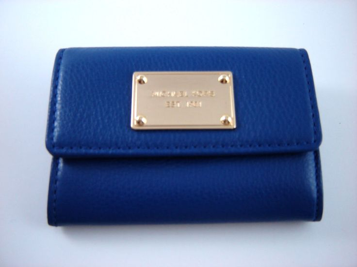 NWT 2014 Michael Kors SAPPHIRE Leather Flap Coin Purse ID Wallet with Key Ring  #MichaelKors #Clutch