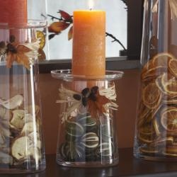 Fall or Autumn decor...could adapt my apothecary jars to do this!