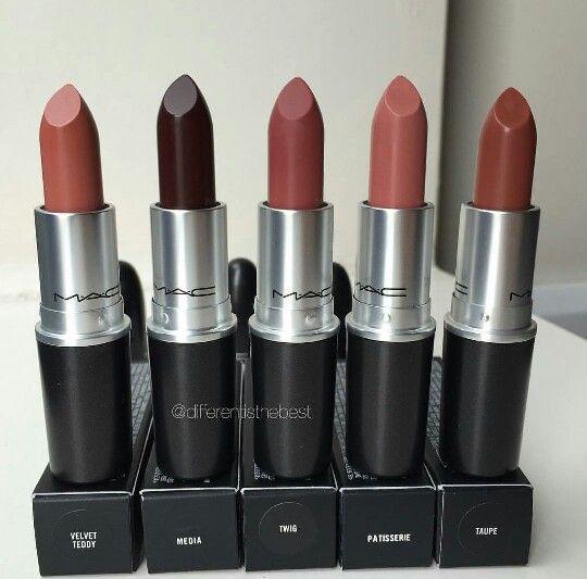 MAC lipsticks Velvet Teddy, Media, Twig, Patisserie, Taupe -for Christmas Gift.
