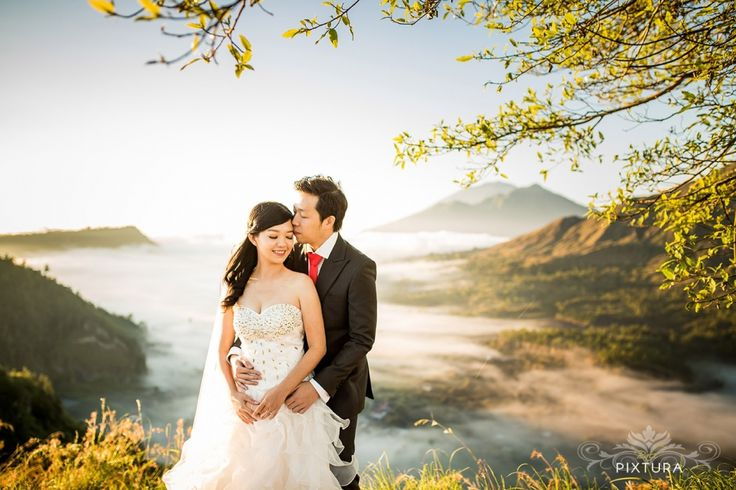 Best Bali Prewedding photo location at Kintamani volcano by Bali Pixtura - Bali wedding photography & bali prewedding photographer