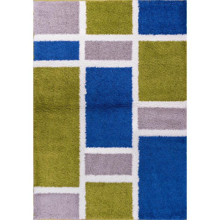 Madison Shag Geo Concept Green/Blue 6 ft. 7 in. x 9 ft. 10 in. Modern Area Rug