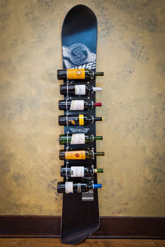 snowboard wine rack. Awesome! But could get expensive for a nice looking one