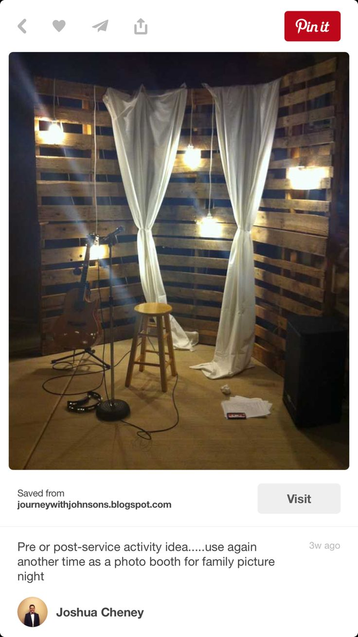 Add fabric to pallet walls with vintage bulbs