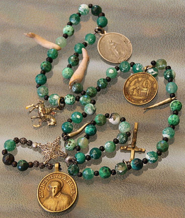 Antiker sehr seltener Edelstein – Rosenkranz – barocke Münze um 1830. Price: EU…