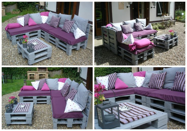 Pallets Garden Lounge / Salon de jardin en palettes europe #Garden, #Lounge, #Pallets, #Recycled, #Sofa