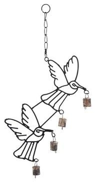 Metal Bird Wind Chime with Curvy Base transitional-wind-chimes