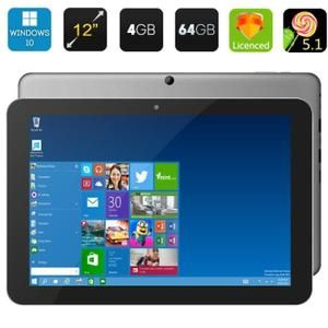 Chuwi Hi12 Tablet PC - 12 pouces écran IPS, Windows 10 + Android 5.1, Intel Cerisier Trail, 4Go de RAM, BT 4.0, support 3D