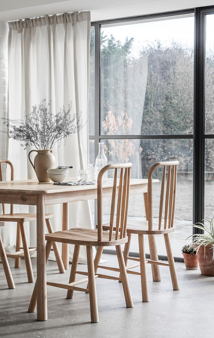 Gloss stowaway dining table and chairs at oak furniture superstore - Solid Oak Dining Set In A Nordic Style For A Minimalistic Dining Room