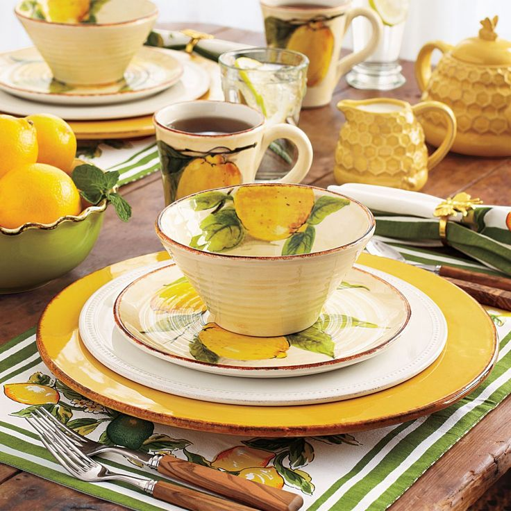 Lemon design dinnerware, so bright and cheerful.   Would be a great 'breakfast set'.