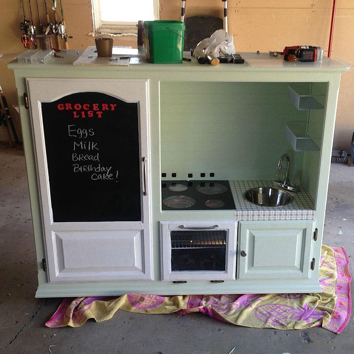 How These Parents Turned a $20 Goodwill Find Into a Tricked-Out Kitchen Playset: Sure, when your budding chef wants his or her own kitchen playset, you can shell out a minimum of $60 on an all-plastic one, but where's the fun in that?