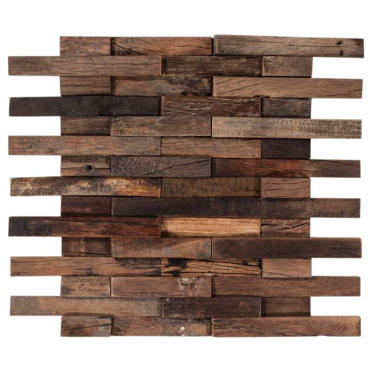 antiqued brushed interlocking wood mosaic - Floor And Decor Backsplash