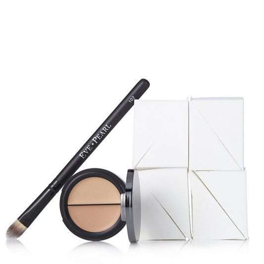 Eve Pearl Dual Salmon Concealer & Brush with 8 Sponges order online at QVCUK.com