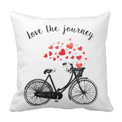 Love the Journey Inspirational Vintage Bike hearts Throw Pillow - heart gifts love hearts special diy