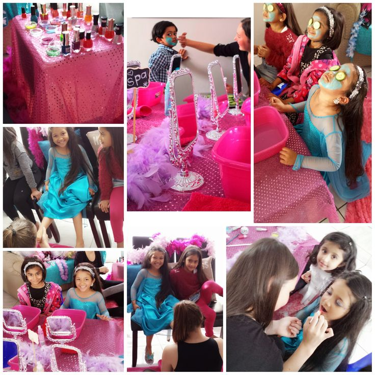 frozen themed pamper birthday party #mani #pedi #facial
