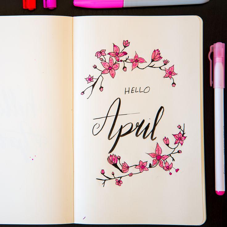 Hello April.. Cherry blossom inspired monthly cover. #bujo #bulletjournal #journal #journaling #bujoinspire #bujoideas #helloapril
