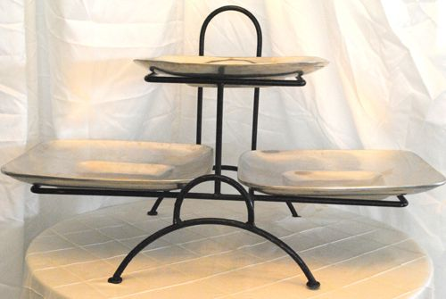 3 Tiered Square Cake Stands | Wrought Iron Stand 3 Tier Wrought Iron Stand White Serving Square ...