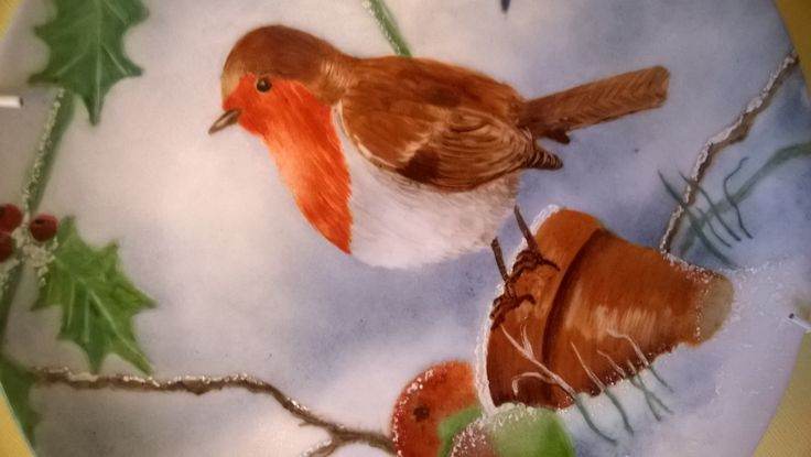Porcelain painting; christmas robin