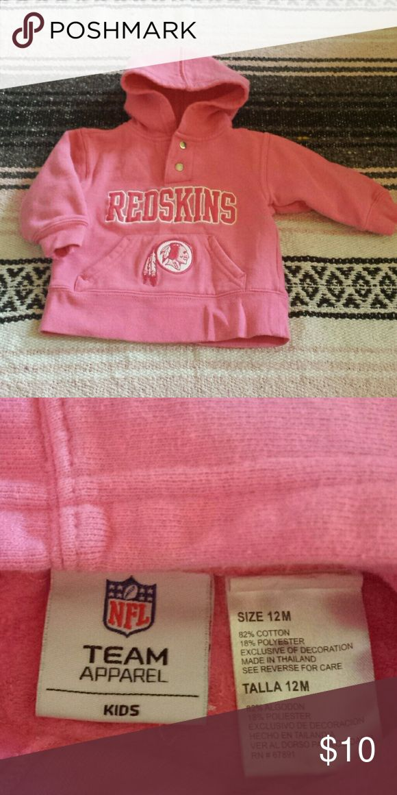 Pink Redskins Hooded Sweater, 12mos Great condition adorable baby girl's pink NFL Team Apparel Redskins hooded sweater. Size 12 months. From smoke free & pet free home. NFL Team Apparel Shirts & Tops Sweatshirts & Hoodies