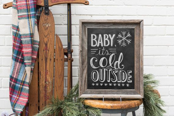 Baby It's Cold Outside Sign Winter Wedding Photo by LilyandVal