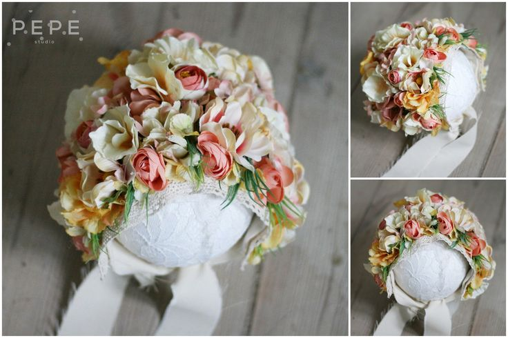 Newborn Floral bonnet, photo props, newborn photo props, floral, flowers,