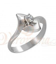 Μονόπετρo δαχτυλίδι Κ18 λευκόχρυσο με διαμάντι κοπής brilliant - MBR_022