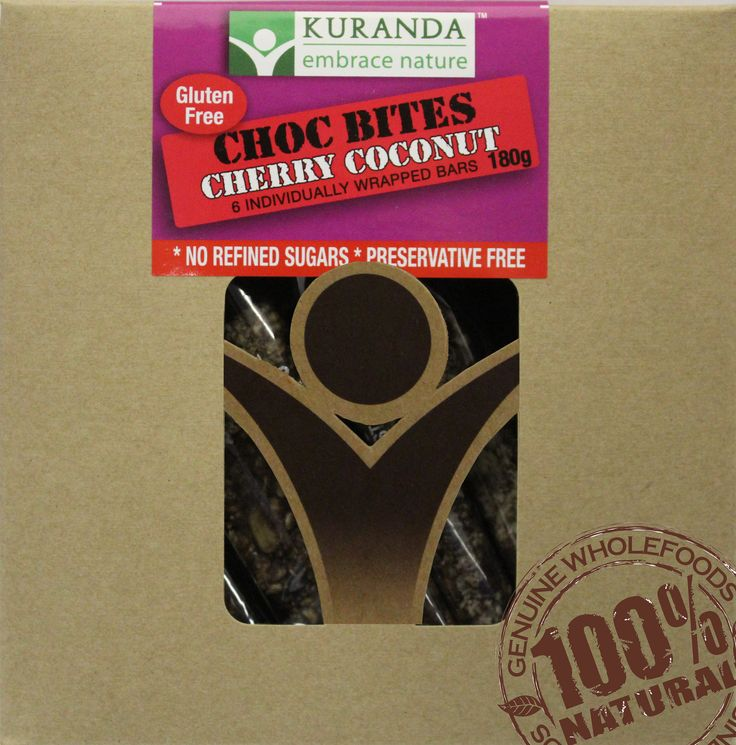 Kuranda Yummy Choc Bites - Choc Cherry Coconut.    Bite size Chocolate treats that are Gluten Free, Wheat Free, Dairy Free and Low GI.    Delicious on it's own or with a cup of coffee or tea!    If you're looking for a treat that won't make you feel guilty, then try a Kuranda Yummy Choc Bite today!    www.aussiehealthsnax.com.au
