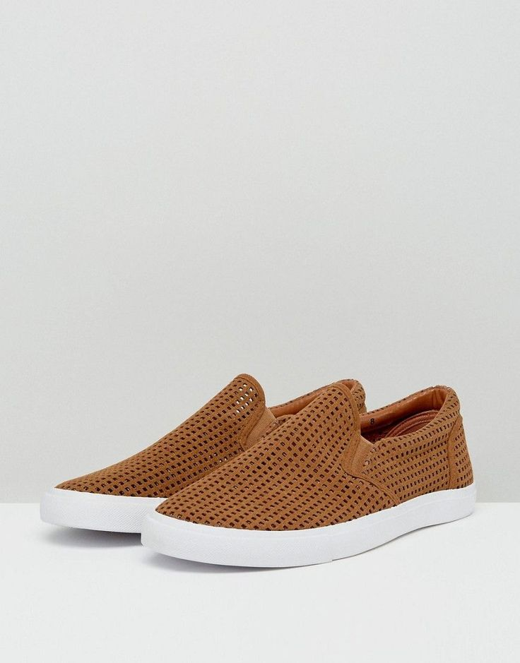 ASOS Slip On Sneakers In Tan With Perforation - Tan