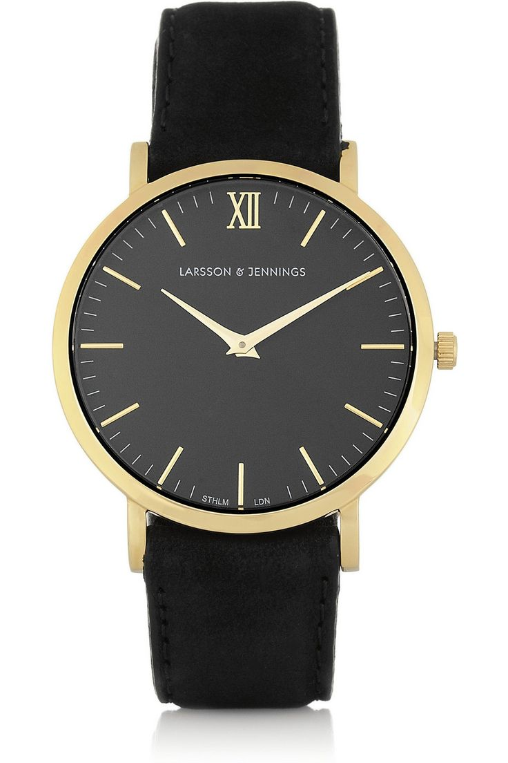 Larsson & Jennings – Läder suede and gold-plated watch