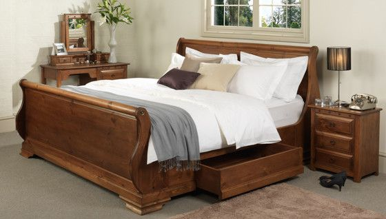 Wooden Sleigh Beds, Traditional Oak King Size Sleigh Bed Frames - Revival Beds