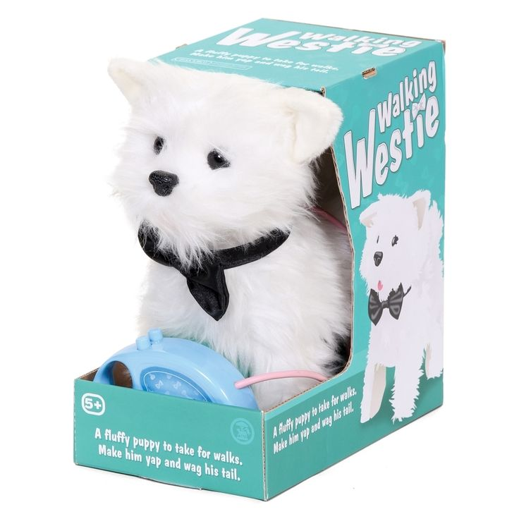 My doggie needs this!!!  West Highland White Terrier. The walking westie toy can walk, bark and wag his tail too!