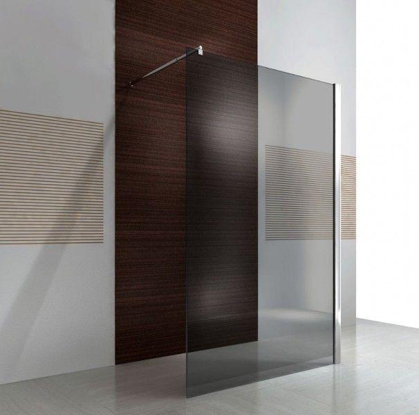 Duschabtrennung Walk-In Nano Echtglas EX101 - graues Glas - Breite wählbar Badewelt Duschkabine Walk-In
