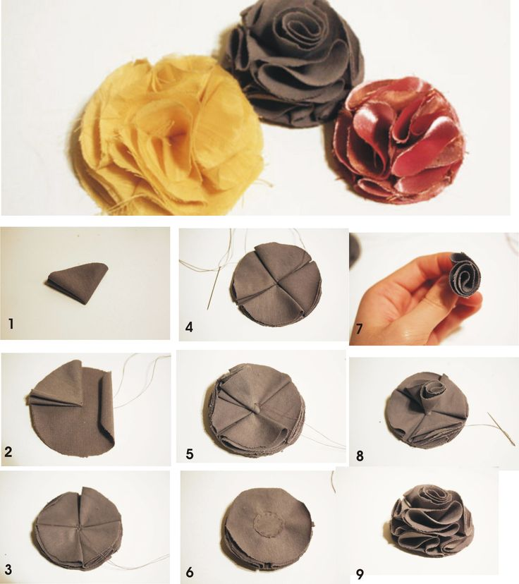 Not in English---good pics though. making cloth flowers